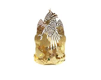 Manger Scene Ornament Light Cover, Nativity Scene, Gold Tone Metal, Christmas, Manger Ornament