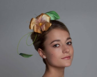 Gold Silk Flower Fascinator | Wedding Fascinator | Bridal Fascinator