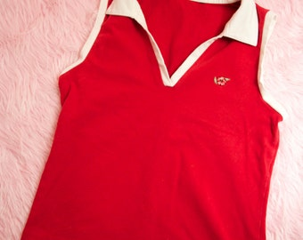 JUST REDUCED White Collared Red Tank Top