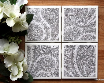 Ceramic Coasters - Ceramic Tile Coasters - Coaster Set - Table Coasters - Black and White Coasters - Coaster - Tile Coaster