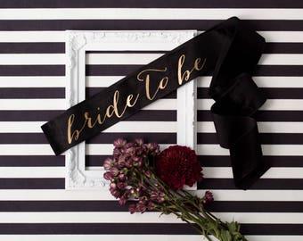 Velvet Bachelorette Sash - Gold on Black