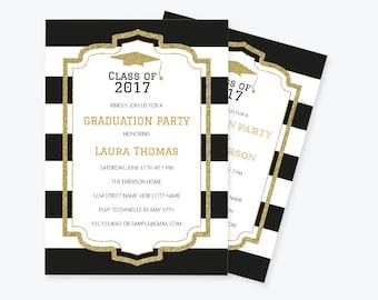 Glitter Graduation Invitation PDF Template, Black & White Stripe Printable Graduation Announcement Party Invitation, Class of, DIY You Print