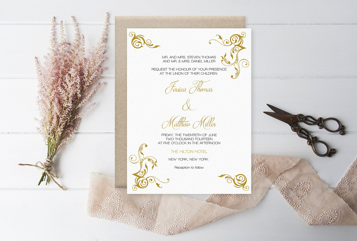 Flourish Wedding Invitations: Flourish Wedding Invitation Template Gold Flourish Printable