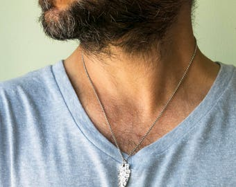 Men Necklace - Men stainless steel Necklace - Men Spear Necklace - Men Silver Necklace - Men Jewelry - Men Gift - Husband Gift - Male
