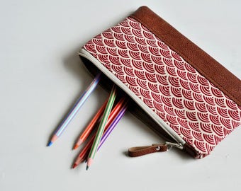 Recycled Brown Leather Pencil Case Zipped Pouch Make Up Bag Accessory Bag Pencil Pouch Stationery Holder Coin Purse Wallet Japanese Red Wave