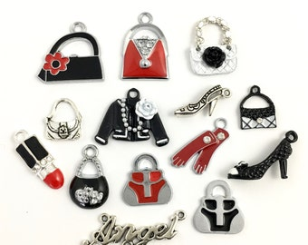 14 fashion girl deluxe charms collection,enamel and silver tone, 15mm to 25mm # ENS A 410