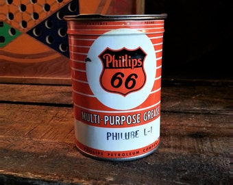 Nice Vintage Phillips 66 Grease Tin - Clean Mid Century Service Station Can