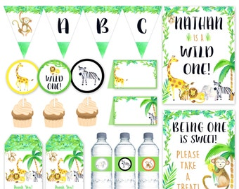 Jungle Party Package, Wild one Party printables, Safari Birthday Party package DIGITAL FILES