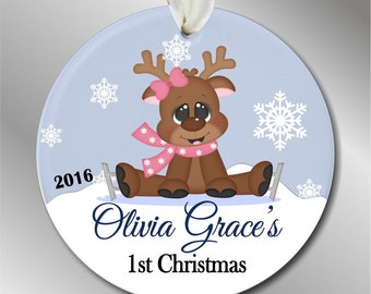 Baby's 1st Christmas - Girl Moose with Ice Skates - Personalized Christmas Ornament - Girl's First Christmas - Baby's 2nd Christmas #201