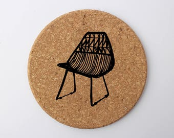 Modern Chair Screen Printed Eco Cork Round Trivet - Kitchen Tabletop