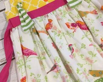 Knot dress - toddler boutique dress - bird print dress - summer dress - sun dress - custom baby dress