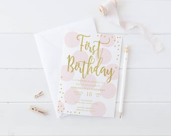 Pink and Gold First Birthday Invitation, Polka Dot 1st Birthday Invitation, Girl Birthday, Gold Glitter