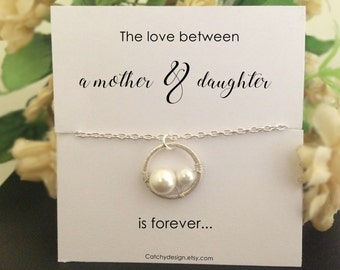 Mother-daughter necklace-Gift to mom-Pearls in circle,New Mother,pregnancy,Two pearl in circle,Mothers day gift ideas,mother of bride