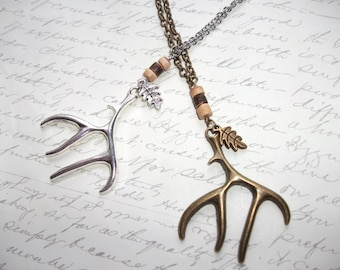 Deer antler necklace in antique brass or silver