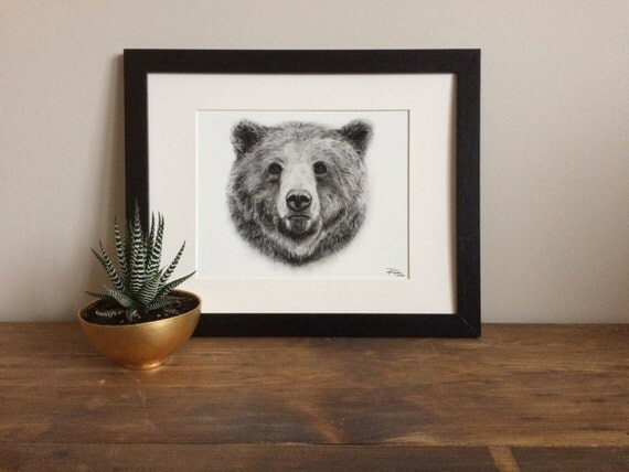 Grizzly Bear Charcoal Drawing GICLEE PRINT - Animal Portrait - Woodland Animal - Black and White Print - Father's Day Gift - Groomsmen Gift