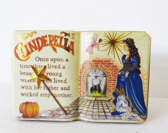 Vintage Cinderella Book Tin Box- The Silver Crane Co. Tin Box made in england 1995