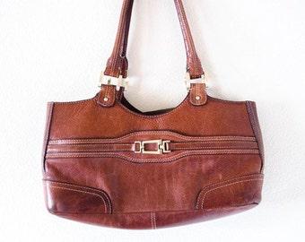 Vintage Etienne Aigner Brown Leather Shoulder Handbag