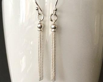 Sterling Silver Tassel Earrings, Silver Long Chain Earrings, 925 Silver Fringe Earrings, Silver Jewellery Gift For Her, Modern Earrings