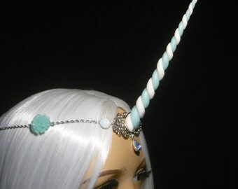Frostflower Unicorn - Tiara with handsculpted pearlescent horn