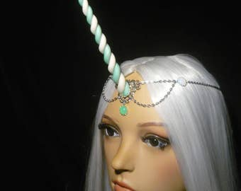 Seafoam Unicorn - Tiara with long handsculpted horn