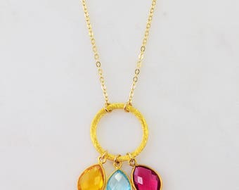 Gold eternity necklace, Birthstone Colored gemstone Sterling Silver Round circle Kids birthstone family necklace, Sterling silver gems