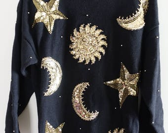 Vintage 80s 90s Marisa Christina Gold Beaded Sun Moon Star Celestial Sweater