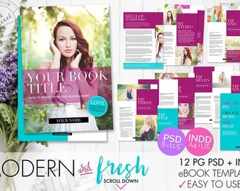 12 page eBook Template // InDesign INDD + Photoshop PSD (Instant DOWNLOAD)
