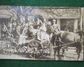 Women And Children First - 1910's World Record Horse and Carriage Load Real Photo Postcard Photograph - Free Shipping