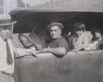 Hitting The Road - 1920's Family Poses In Their New Car Snapshot Photo - Free Shipping