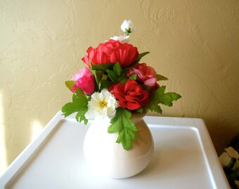 Floral Arrangement-Heart-Ceramic Vase-Roses-Gift for Her-Co-Worker-Friend-Thinking of You-Get Well-Just Because-Cheer