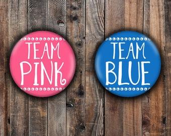 Team Pink and Team Blue gender reveal pins