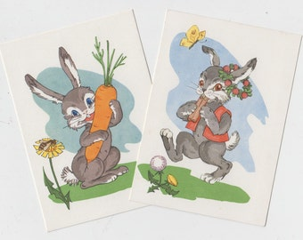 Bunny Postcard Set of Two - Blank Vintage Postcard with Hares from Soviet times - 60s - Soviet Bunny Postcard - artist T. Balčiūnienės