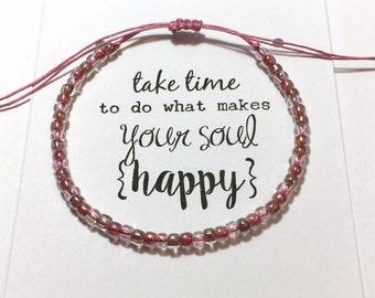 "Happy Soul HEMP bracelet~ Pink/Light Brown Seed Bead Hemp cord bracelet, macrame knot adjustable ~ ""Rose Petals"" designer 6/0 TOHO beads"