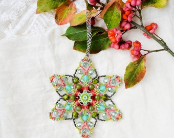 Mandala necklace, beaded star, lotus flower, micro-macrame jewelry, spiritual, bohemian, unique, exotic, coral turquoise green mint red