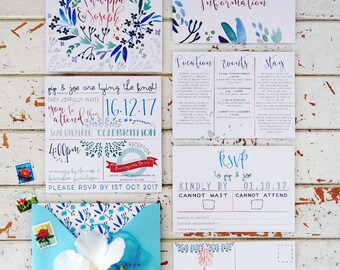 Wedding Invitations, Wedding Stationery, Custom Invitations, Blue Wedding  Invitations, Boho Wedding Invitations
