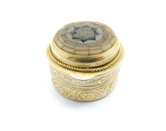 Vintage Italy Mosaic Pill Box, Brown Glass Pieces, Gold Tone