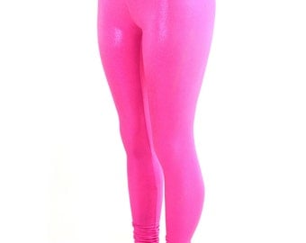 Neon Hot Pink Holographic Metallic High Waist Lycra Spandex Leggings - 154238