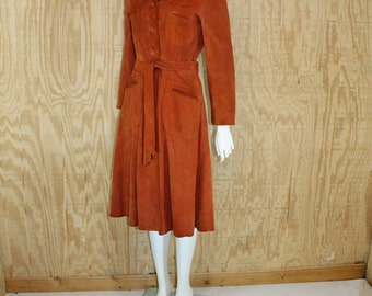 Vintage 1970's SPLIT END Pumpkin Suede Leather Belt Tie Long Trench Coat S / M