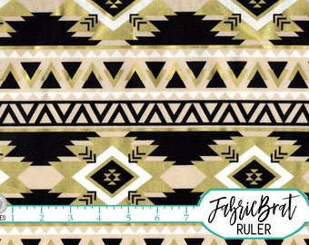 BLACK & METALLIC GOLD Fabric by the Yard Fat Quarter Aztec Fabric Striped Fabric Quilting Fabric Apparel Fabric 100% Cotton Fabric a3-22