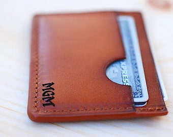 Personalized Leather Minimalist Wallet, Monogramed Pocket Wallet, Gift Ideas for Him, Slim Leather Wallet, Custom Wallet, Boyfriend Gift,