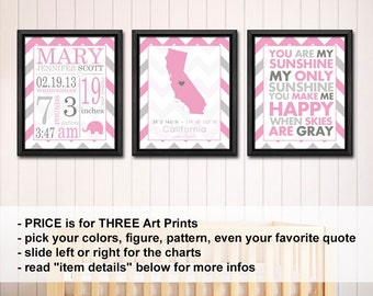 baby girl room decor with stats, birth stats print, birth date print, birth details print, new baby girl gift, baby girl decor with stats