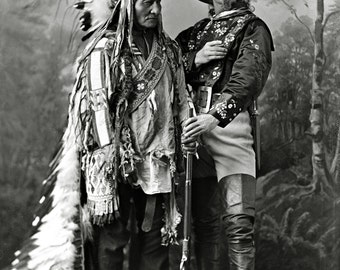 Buffalo Bill Cody with Sitting Bull 1885 Historical Wild West Photograph - DIGITAL DOWNLOAD