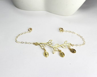 Personalized Olive Branch Bracelet, Leaf Bracelet, Branch Bracelet, Initial  Jewelry,Bridesmaid Bracelet, Bridesmaid Gift,Bridesmaid Jewelry