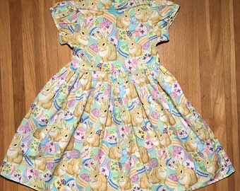 Bunnies with Eggs Girls Green Easter Dress Size 4T