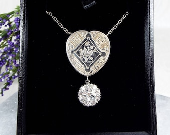 Antique / Victorian Sterling Silver Aesthetic OOAK Bird Heart Pendant Necklace