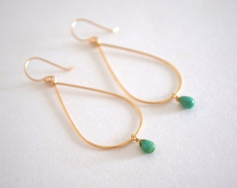 Green Teardrop Hoop Earrings, Gold Filled