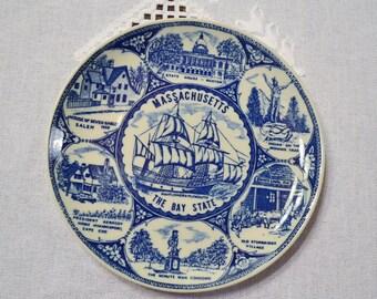 Vintage Blue White Decorative Plate Massachusetts Collectible Travel Souvenir PanchosPorch