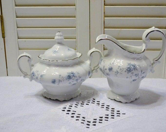 Vintage Johann Haviland Blue Garland Sugar Bowl and Creamer Set Bavaria Germany PanchosPorch