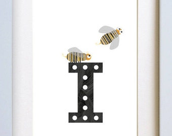 I is for Insect - letter art print