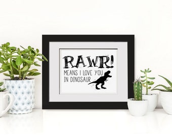 Rawr! Means I Love You In Dinosaur Wall Art|Dinosaur Party Decor Printable|Dinosaur Decorations|Dinosaur Kids Decor|Dinosaur Art Poster|